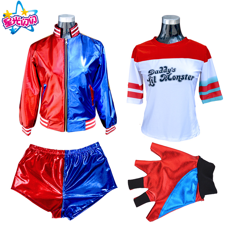 Suicide Squad Harley Quinn Costume Cosplay Adulti / bambini Batman Arkham Asylum City Joker Movie Halloween Anime Top Jacket
