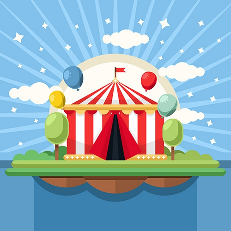 Star Cloud Balloon Circus Striped Theme Party photo backdrop Vinyl cloth High quality Computer printed wall  Backgrounds