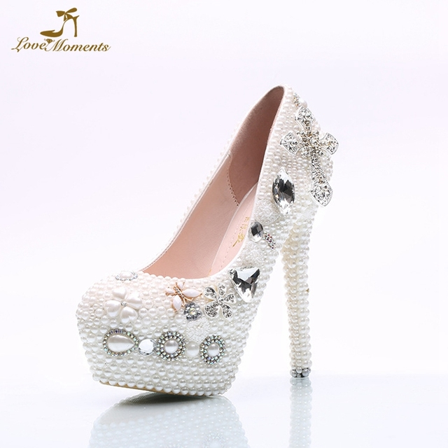 Wedding Shoes White Pearl Platform Bride Wedding Party Shoes White Color  Thin Heel Bridal Dress Shoes Plus Size 10 Free Shipping ae3f0fd64f5b