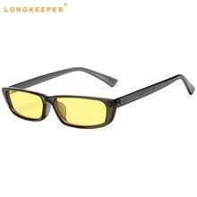 d6e562ea1 طويلة حارس 2018 جديد أزياء صغيرة مربع النظارات الشمسية المرأة العلامة  التجارية مصمم الأصفر للرؤية الليلية نظارات شمسية مكافحة وه.