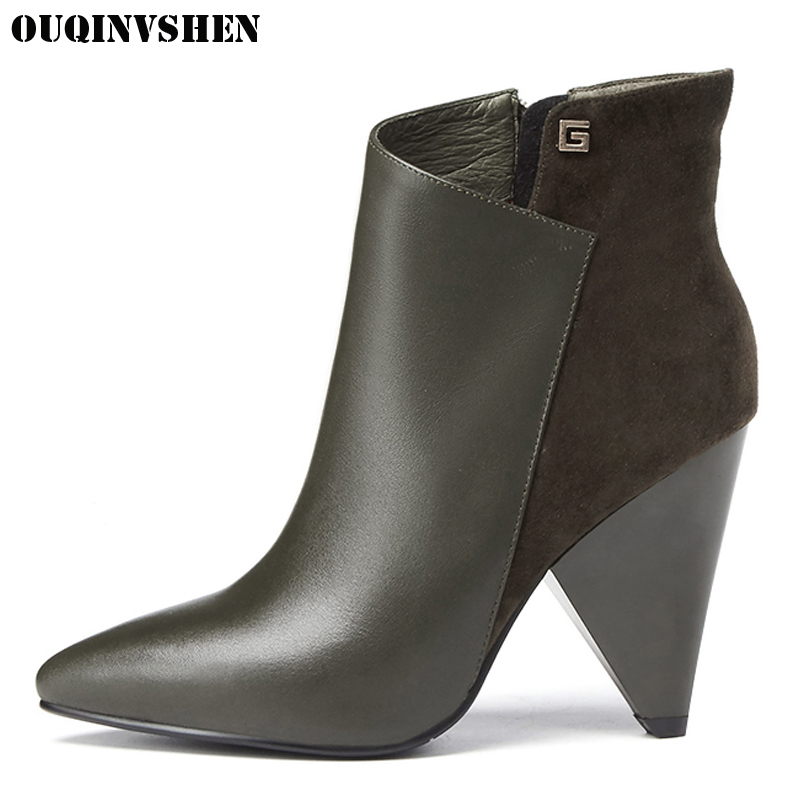 OUQINVSHEN Pointed Toe Spike Heels Women Boots 2017 Winter Women's Ankle Boots Casual Fashion Super High Heels Ladies Boots 2017 solid black winter spring women shoes slip on pointed toe spike high heels ankle boots women free ship size 9 12