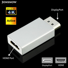 JONSNOW DP Displayport to HDMI Converter Female Adapter Active Display port Male Support Ultra HD 4K 30Hz HDTV