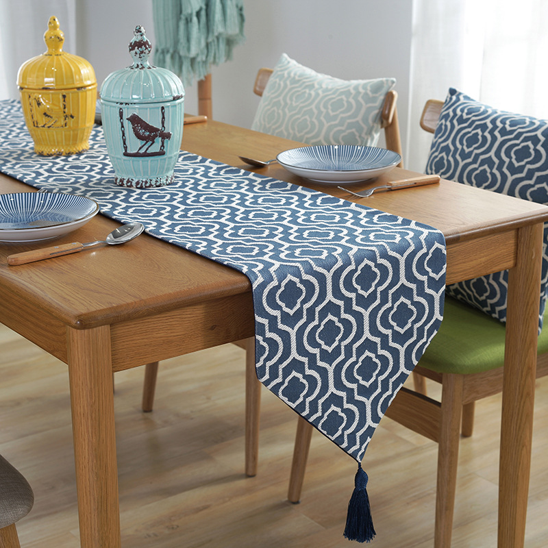 Junwell Multi-Size Polyester Jacquard Elegant Table Runners With Tassel For Home Dining Table Decorative Coffee Table