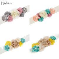 NISHINE New Style Women Sash Handmade Flower Sash Chiffon Flower Pregnant Women Belt Sash Maternity Sash