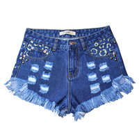 2018 women clothing high waist Rivet print hole washed denim shorts Female fashion streetwear loose wide leg short jeans SL032