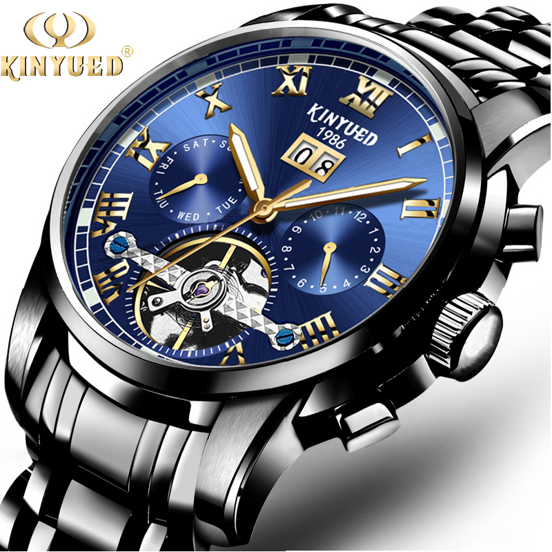 KINYUED Top Brand Skeleton Tourbillon Automatic Men Mechanical Watches Business Stainless Steel Watch Calendar Relogio Masculino bolaishaxian черный
