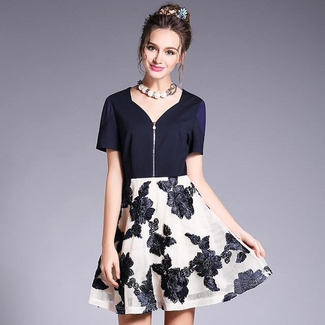 181153d042 US $57.13 |OUYALIN L 4XL 5XL Plus Size Front Zipper Summer Short Dress 2017  Women Embroidery V neck Flare Patchwork Party Dresses Vestidos-in Dresses  ...