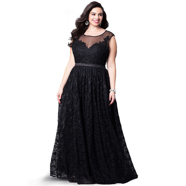 Summer Autumn Plus Size Off Shoulder Lace Maxi Dress Women Sexy Sleeveless Evening Party Night Club A-Line Long Dresses Black