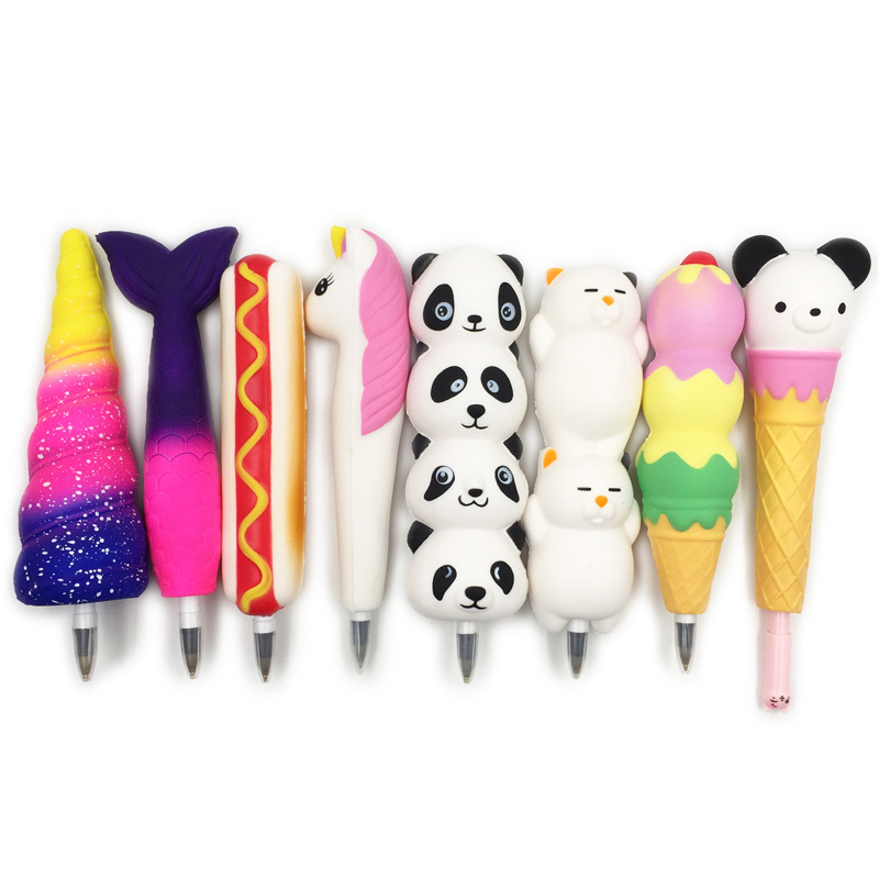 New Squishy Unicorn Cat Ice Cream Panda Bun Pen Cap Stationery Pencil Holder Toppers Slow Rising Squeeze Children's Day Gift Toy