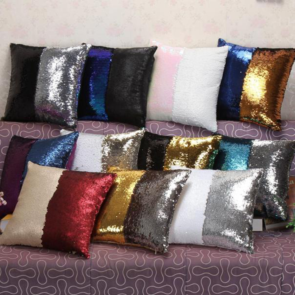 Diy Bed Throw Pillows : Hot Household DIY Two Tone Glitter Sequins Throw Pillow Decorative Pillow Covers Sofa Bed new ...