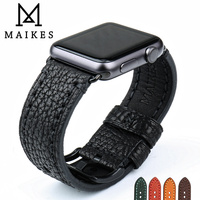 MAIKES Genuine Leather Watch Strap Black Watch Accessories For Apple Watch Band 42mm 38mm IWatch Bracelet