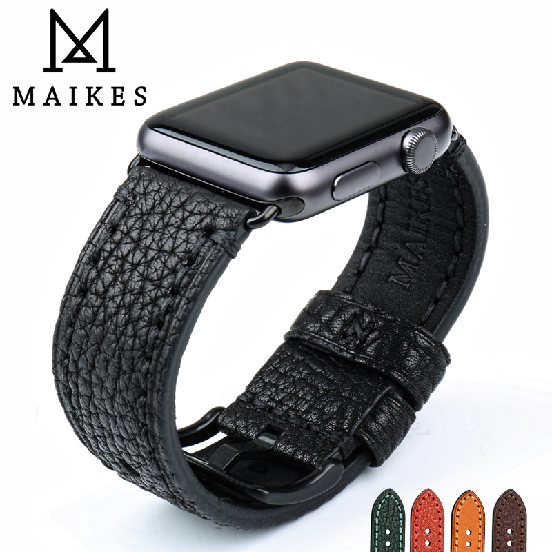 MAIKES Genuine Leather Watch Strap Black Watch Accessories For Apple Watch Band 42mm 38mm iWatch Bracelet Watchband maikes 18mm 20mm 22mm watch belt accessories watchbands black genuine leather band watch strap watches bracelet for longines
