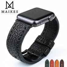 MAIKES WatchbandสำหรับAppleนาฬิกา 44 มม.40 มม.4 3 2 1 และAppleสายนาฬิกา 42mm 38Mm IWatchสร้อยข้อมือหนัง