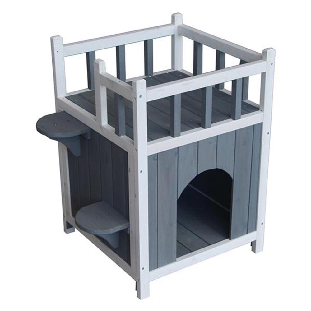 Chat en bois maison pour animaux de compagnie avec balcon maison pour animaux de compagnie petit chien intérieur extérieur abri gris et blanc détachable double couche maison de chat