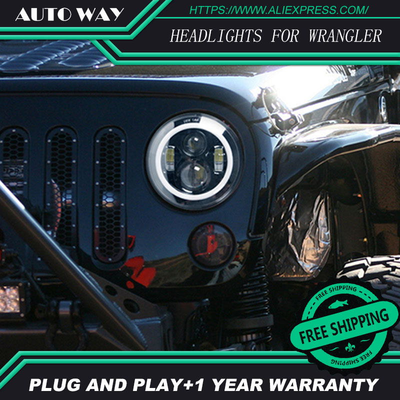 For Jeep Wrangler JK CJ LED Car Halo Ring Round car Light Souce 2PCS H4 7 Inch 40W Angel Eyes Auto Headlight Kit DC10-30V Hi/Low 7 round led headlight conversion kit with halo angel eye ring