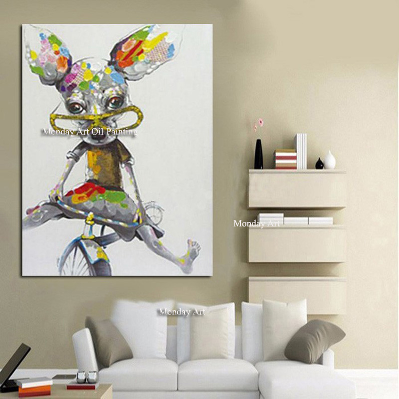 Handpainted Animal Art Colorful Dog on Canvas Modern Canvas Painting Wall Art Posters and Home Decor For Living Room Decoration in Painting Calligraphy from Home Garden