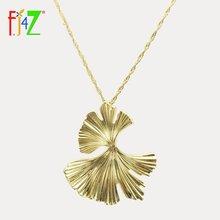 Fj4z Фирменное ожерелье с подвеской листьев гинкго из сплава