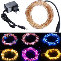 10M 100 Leds Copper Waterproof Holiday String Lights Christmas Halloween Wedding Outdoor Decoration 1A Power Plug