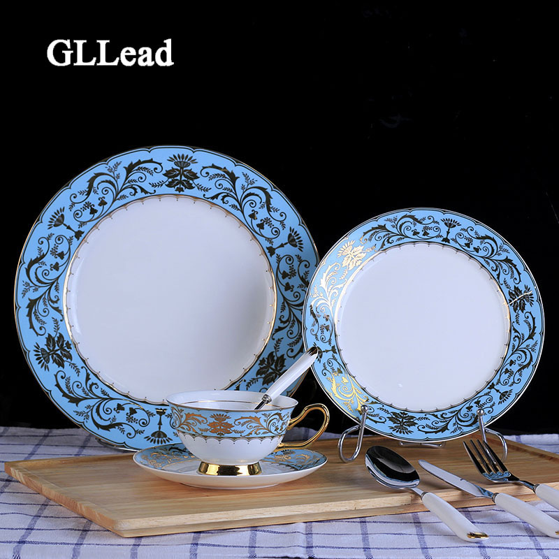 GLLead European Style Bone China Tableware High Quality Dinnerware Hotel Restaurant Dinner Ceramic Service Cutlery Cup Plate Set-in Dishes u0026 Plates from ...  sc 1 st  AliExpress.com & GLLead European Style Bone China Tableware High Quality Dinnerware ...