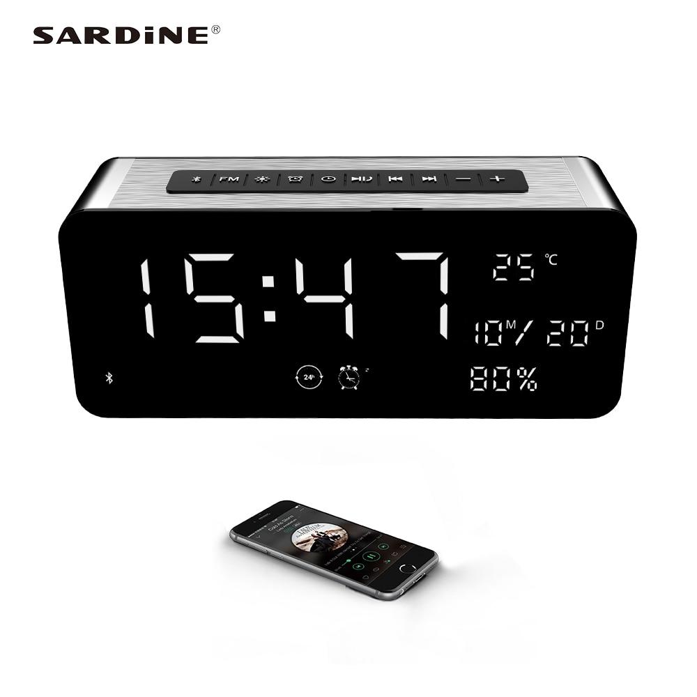 Newest Sardine A10 bluetooth speaker <font><b>5000mAh</b></font> portable alarm clock MP3 speaker 52mm horn big sound for party TF card USB FM radio