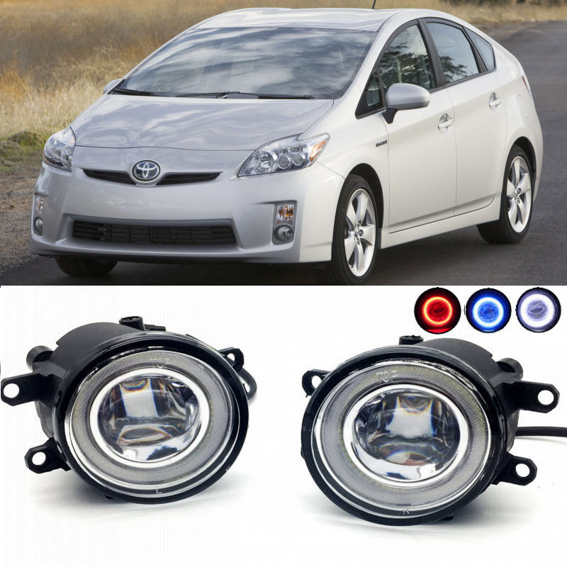 For Toyota Prius XW30 2009-2015 2 in 1 LED Cut-Line Lens Fog Lights Lamp 3 Colors Angel Eyes DRL Daytime Running Lights for opel astra h gtc 2005 15 h11 wiring harness sockets wire connector switch 2 fog lights drl front bumper 5d lens led lamp