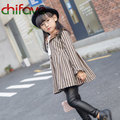 Korean Style Baby Girls Clothes O-neck Collar Striped Pattern A-Line Mini Pleat Kids Girls Dress 2 Colors Suit 3-7 Ages Child