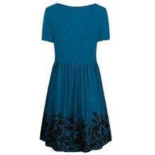 Round Neck Easy Pocket Printing Dress
