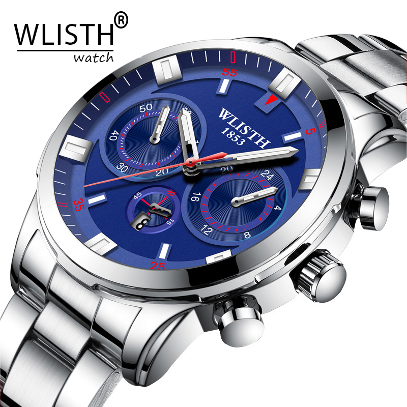 Часы WLISTH Man, мужские наручные часы из нержавеющей стали, оригинальные кварцевые часы, водонепроницаемые наручные часы, имитирующие три глаз...