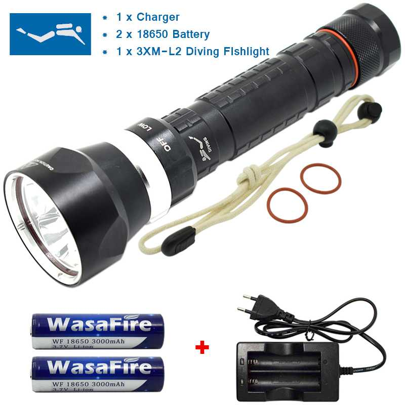 New 3x XM-L2 6000LM LED Diving Flashlight 3 Modes 18650 Dive Torch Light Brightness Waterproof Underwater Scuba Led Torch Kit allbitefo over the knee boots nubuck leather medium heel women boots 4 colors winter boots thick heel snow boots size 33 43