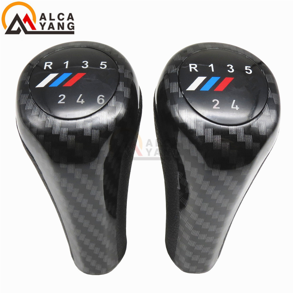 Carbon Fiber 5 6 Speed Manual Gear Stick Shift Lever With M Logo For BMW E30 E32 E34 E36 E38 E39 E46 E53 E60 E63 E83 E84 E87 E90