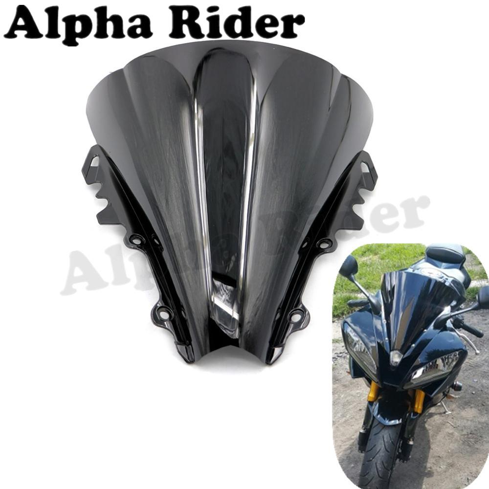 Motorcycle Racer Double Bubble Windscreen Front Airflow Glass Deflector For YAMAHA YZF 600 R6 2006 2007 ABS Black Windshield