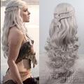 Косплей парик Новое Прибытие Игра престолов Daenerys Вдохновленный Волосы Косплей парики Волос русый, серебро для вас выбрать бесплатная доставка