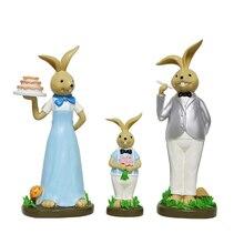 3Pcs Table Ornament Fashionable Handmade Cute Resin Rabbit Home Decor Animal Figurine Accessories Toy
