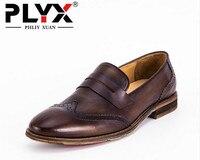 Brand PHLIY XUAN England Retro New 2017 Men Casual Shoes Genuine Leather 100 Handmade Men Oxfords