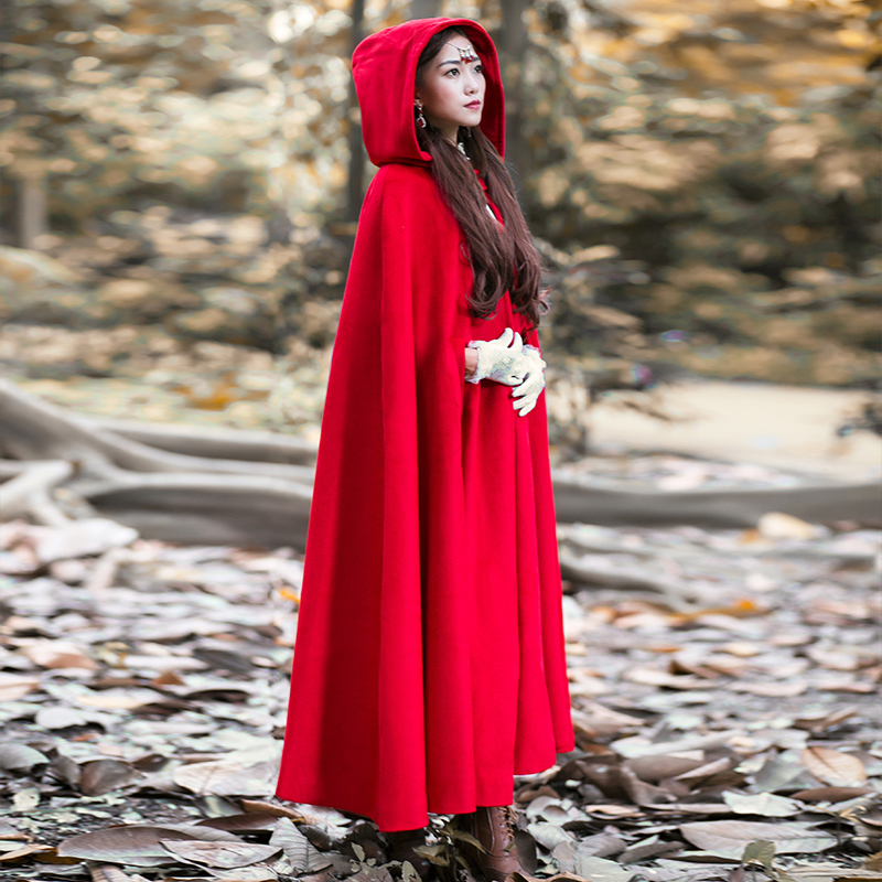 Fashion Womens retro red riding hooded cape coat long Cosplay Trench Cloak Woolen Cashmere One Size 12Colors