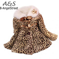 Hot Sale Baby Children Girls Leopard Faux Fox Fur Collar Winter Coat Kids Clothes Outerwear Jackets