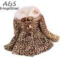 Venta caliente Bebé Niños Niñas Leopard Faux Fox Cuello de Piel Abrigo de Invierno Los Niños ropa de Abrigo Chaquetas