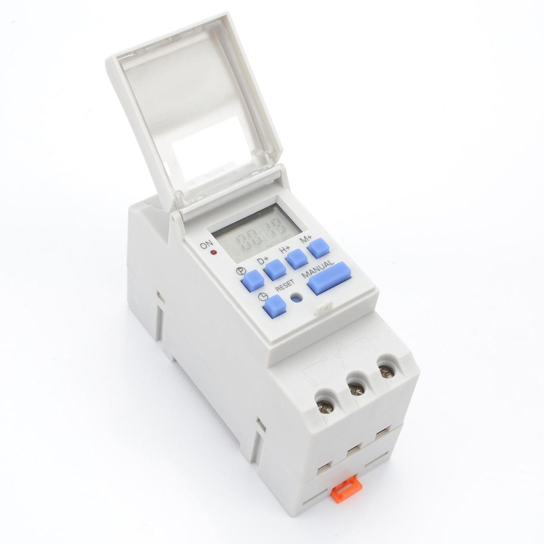 1 pc Digital LCD Poder Timer Programável Interruptor de Tempo AC 220 v/110 v DC 12 v 16A Temporizador din Interruptor Do Temporizador Trilho