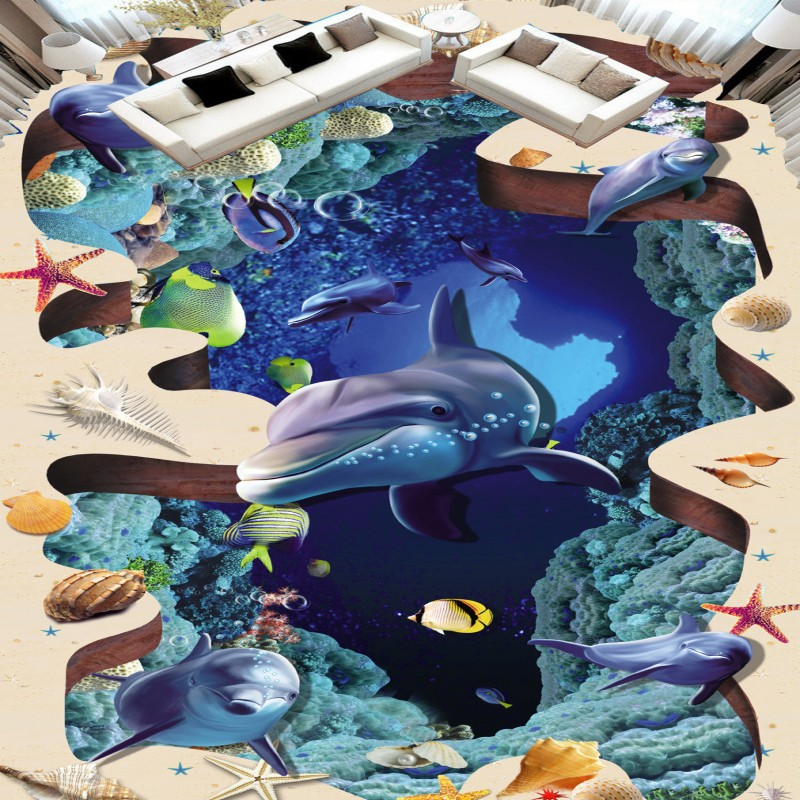Free shipping high quality picture sticker bathroom porch decoration Sea World Dolphin non-slip wear floor wallpaper mural sticker picture atlas of europe