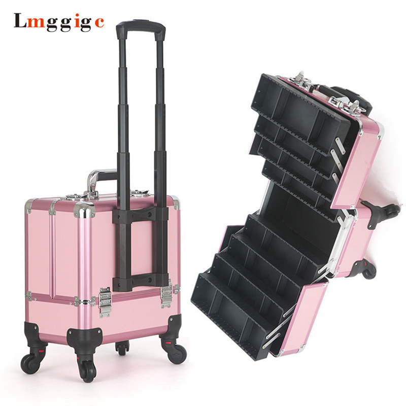 Dresser Handheld Make Up Suitcase ,Embroidery Toolbox ,Professional Makeup Artist Bag,Aluminum Frame Rolling Cosmetic Case