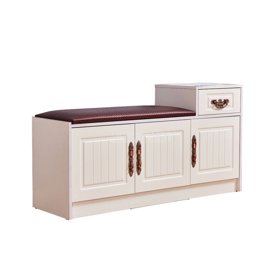New Europe Style Wood Shoes Cabinet With 1-Drawer 3-Door Soft Seat Cushion Modern Shoes Changing Stool Bench Storage Organizer