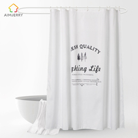 Aimjerry White Shower Curtain Fabric Waterproof Mildewproof Modern Bathtub Bathroom Curtain With 12 Hooks Custom 71