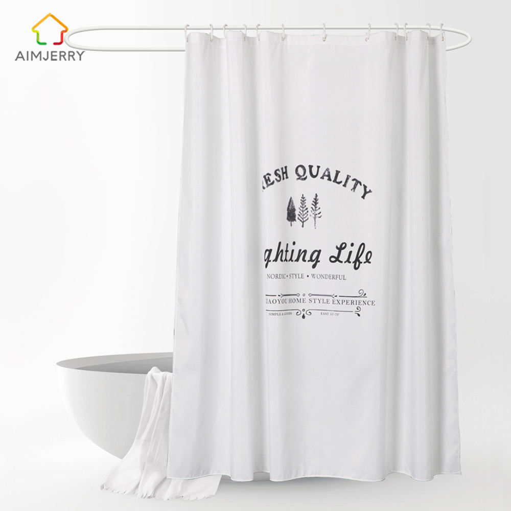 Aimjerry White Shower Curtain Fabric Waterproof Mildewproof Modern Bathtub Bathroom Curtain With