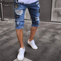 Moomphya Distressed ripped holes knee length men jeans Badge short pants jeans Hip hop streetwear straight jeans men