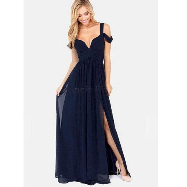 2017 Women Casual Dress Summer Fashion Long Elegant Chiffon Dress Deep V-Neck Split Sexy Party Maxi Dress Strap Vestidos
