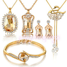 5PCS Jewelry Set High Quality Crystal Earring Necklace Bracelet Bridal Wedding Sets Accessories N406