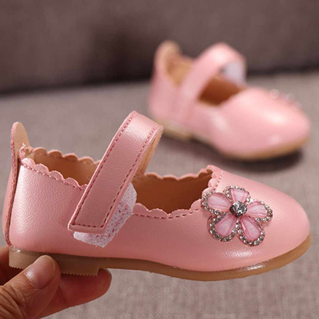 Infant Kids Baby Girls Elegant Crystal Flower Single Princess Casual Shoes Toddler Girls Shoes For Girls Leather Shoes 2019