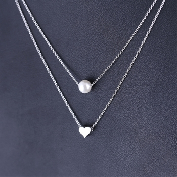 Korean Double Layer Pearl Heart Clavicle Chain 925 Sterling Silver Temperament Personality Fashion Female Necklace SNE144