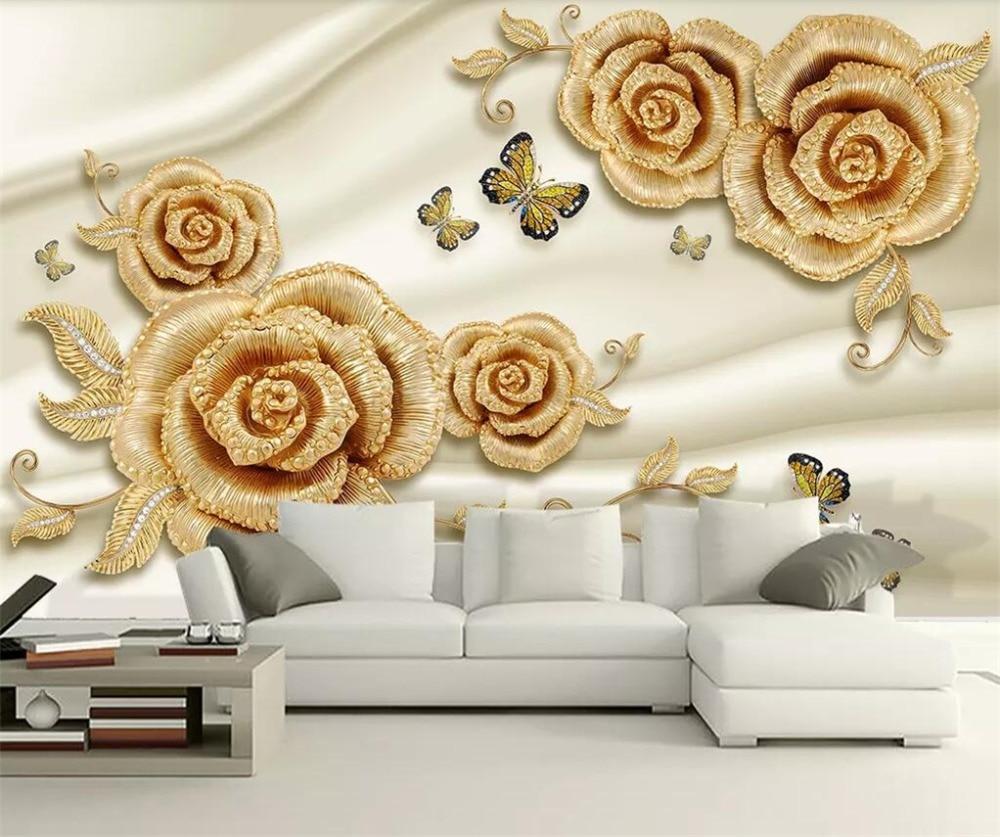 Beibehang Custom Wallpaper 3d Papel De Parede Photo Mural Luxury 3d Gold Rose Diamond Butterfly Jewelry TV Background Wall Paper