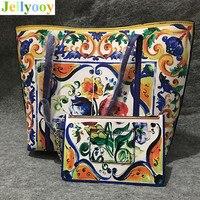 Роскошная итальянская сумка шоппер высокого качества из натуральной кожи с цветочным принтом и Сицилией